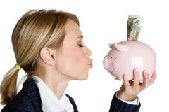 piggy γυναίκα τραπεζών στοκ φωτογραφία