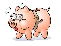 piggy ζωνών τραπεζών που σφίγγε Στοκ φωτογραφία με δικαίωμα ελεύθερης χρήσης