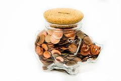 Piggy κιβώτιο χρημάτων γυαλιού Στοκ φωτογραφία με δικαίωμα ελεύθερης χρήσης