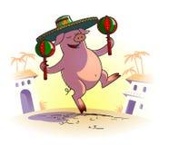 Piggy με τα maracas Στοκ Εικόνες