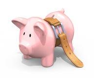 piggy να λιμοκτονήσει τραπεζ Στοκ Εικόνες