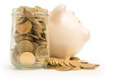 piggy πύργος τραπεζών και χρημάτων που απομονώνεται Στοκ Εικόνα