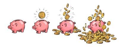 Piggy σύνολο τραπεζών κινούμενων σχεδίων Κενός, με ένα νόμισμα, με τα μειωμένα νομίσματα, που συσσωρεύονται πέρα από τα χρήματα Π ελεύθερη απεικόνιση δικαιώματος