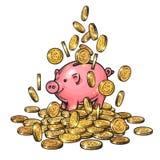 Piggy τράπεζα κινούμενων σχεδίων μεταξύ των μειωμένων νομισμάτων στο μεγάλο σωρό των χρημάτων 2019 κινεζικό νέο σύμβολο Yea συρμέ ελεύθερη απεικόνιση δικαιώματος