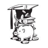 Piggy τράπεζα κινούμενων σχεδίων με το καπέλο βαθμολόγησης, μειωμένα χρήματα, σωρός των βιβλίων απεικόνιση αποθεμάτων