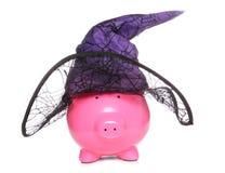 Piggy τράπεζα μαγισσών αποκριών Στοκ Φωτογραφία
