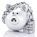 Piggy τράπεζα Padlocked στοκ φωτογραφίες