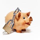 Piggy банк обеспеченный с padlock Стоковое Изображение RF
