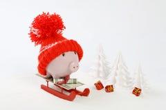 Piggy коробка с красной шляпой при pompom стоя на красном скелетоне на снеге и вокруг snowbound деревья - toboggan Стоковая Фотография