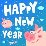 Piggy милого летания смешное счастливое Новый Год Символ свиньи китайский 2019 год Приветствовать праздничную карту подарка Рука  иллюстрация вектора