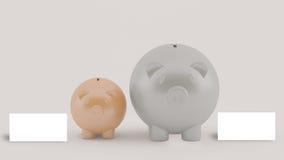 2 piggy с сообщением, концепцией дела Стоковое Изображение