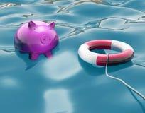 Piggy с Lifebuoy показывает защищенные сбережения Стоковые Фото