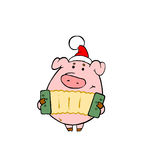 Piggy. Play accordion while celebrating New Year Royalty Free Stock Photography