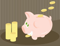 Piggy. Money hungry bank (Coin in teeth, stacked and tossed from above) .  Conceptual use - bank fees, savings, greed, cost of pork production, etc Stock Photo