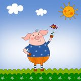Piggy. Cartoon character. Colorful graphic illustration for children Stock Image