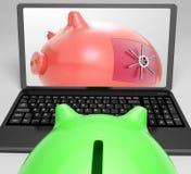 Piggy закрытый свод показывает запертые сбережения Стоковое фото RF