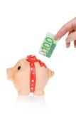 евро кредитки банка piggy Стоковое фото RF