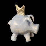 Τράπεζα Piggy παιδιού με δύο το δολάριο Μπιλ. Στοκ Φωτογραφία