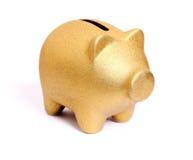 Χρυσή piggy τράπεζα από το δικαίωμα μπροστινής πλευράς Στοκ Εικόνα