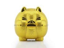 Χρυσή piggy τράπεζα με το ψαλίδισμα της πορείας Στοκ φωτογραφία με δικαίωμα ελεύθερης χρήσης