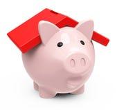 Το piggy σπίτι τραπεζών Στοκ εικόνες με δικαίωμα ελεύθερης χρήσης