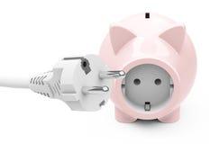 Piggy τράπεζα υποδοχών δύναμης Στοκ φωτογραφία με δικαίωμα ελεύθερης χρήσης