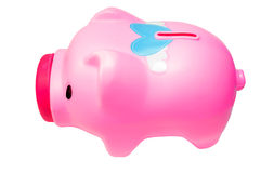 Δευτερεύον ροζ τράπεζας Piggy στο άσπρο υπόβαθρο απομονώσεων Στοκ Εικόνα