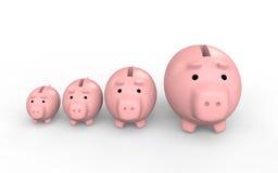 τρισδιάστατες piggy τράπεζες που αυξάνουν το μέγεθος Στοκ Φωτογραφία
