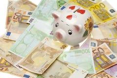 ευρο- piggy τραπεζών Στοκ Εικόνα