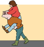 Piggy back teamwork. Codependent couple with one carrying the other and covering eyes Royalty Free Stock Photos