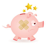 Piggy-banca-crisi Fotografie Stock