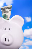 Piggy Bank With $100 Stock Image
