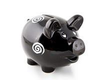 Piggy Bank. BStudio shot of black piggy bank isolated on white background Stock Image