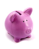 Piggy-bank. Purple piggy-bank isolated on white background royalty free stock image
