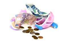Piggy bank. Broken pig money box, coins and banknotes Stock Photography