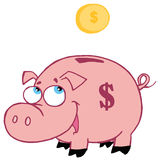 Piggy bank. Jolly pink piggy bank watching a coin fall into the slot Stock Images