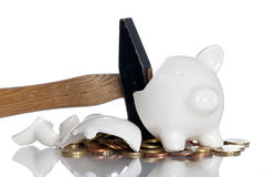 Piggy Bank. Broken Piggy Bank and some coins Royalty Free Stock Photography