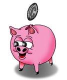 Piggy Bank. Vector image of a happy piggy bank receiving a coin Stock Image