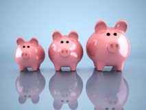 Piggy bank. Three piggy bank - this is a 3d render illustration Stock Photography