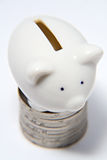 Piggy Bank. A white cerramic piggy bank standing on a stack of coins Stock Images