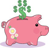 Piggy Bank. A piggy bank with dollar signs Royalty Free Stock Photos