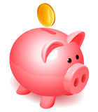 Piggy bank. Shiny piggy bank and golden coin Royalty Free Stock Photography