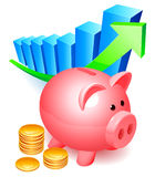 Piggy bank. Piggy bank with golden coins and graph Stock Photography