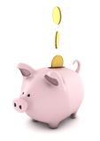 Piggy bank. Computer generated image of a fat pink piggy bank with falling gold coins isolated on white Stock Photo