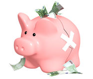 Piggy bank. Two parts of a piggy bank fastened by a plaster. Isolated over white vector illustration