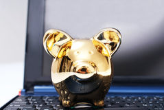 Piggy bank. On the laptop Royalty Free Stock Photo