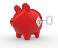 Piggy bank. Closed with lock a key.  3d render illustration Royalty Free Stock Photo