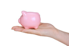 Piggy bank. And woman hand isolated on white background stock image