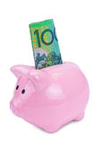 Piggy bank. Pink piggy bank  on white background Royalty Free Stock Photos