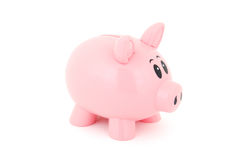 Piggy Bank. Isolated photo of pink plastic piggy bank Stock Photo